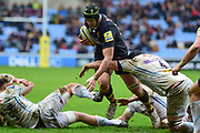Wasps lock James Gaskell  is tackled during the Aviva Premiership match between Wasps and Exeter Chiefs at the Ricoh Arena, Coventry, England on 18 February 2018. Picture by Dennis Goodwin.