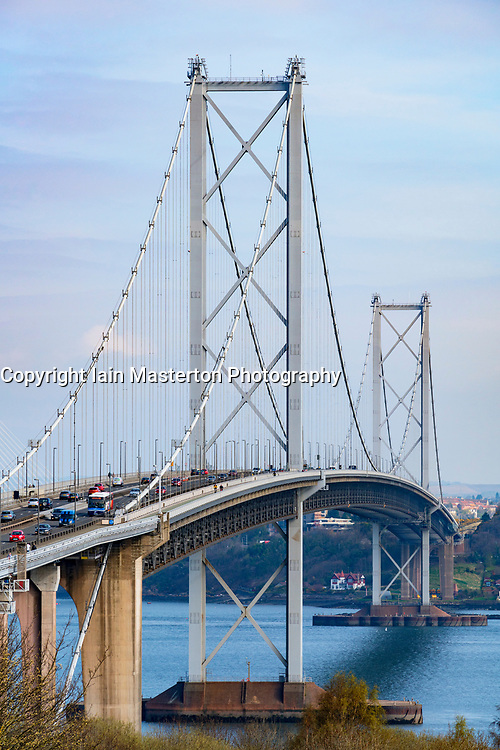 View of Forth Road Bridge  from South Queensferry, Scotland, United Kingdom