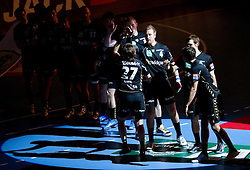 Ivan Cupic (#27) of RNL and Oliver Roggisch (#4) of RNL during Velux EHL Champions league 2010/2011 Group A men handball match between HC Celje Pivovarna Lasko of Slovenia and Rhein-Neckar Loewen of Germany, on October 2, 2010 in Arena Zlatorog, Celje, Slovenia. Rhein-Neckar Löwen defeated Celje Pivovarna Lasko 32 - 28. (Photo By Vid Ponikvar / Sportida.com)