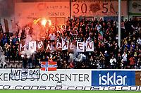 Fotball , 9 . august 2017 , NM herrer , Mjøndalen - Brann 1-0<br /> illustrasjon fan , fans , 3050 Mjøndalen , flagg , banner , tifo