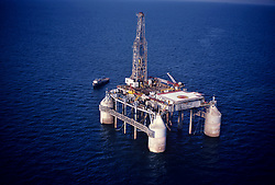 Stock photo of an aerial view of a semi-submersible rig