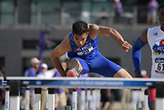 May 24, 2019; Sacramento, CA, USA; Micah Fontaine (29) of Air Force runs in the 110m hurdles during the NCAA West Preliminary at Hornet Stadium.