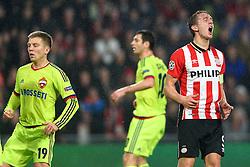 08-12-2015 NED: UEFA CL PSV - CSKA Moskou, Eindhoven<br /> PSV wint met 2-1 en plaatst zich voor de volgende ronde in de CL / Luuk de Jong #9, Aleksandrs Cauna #19