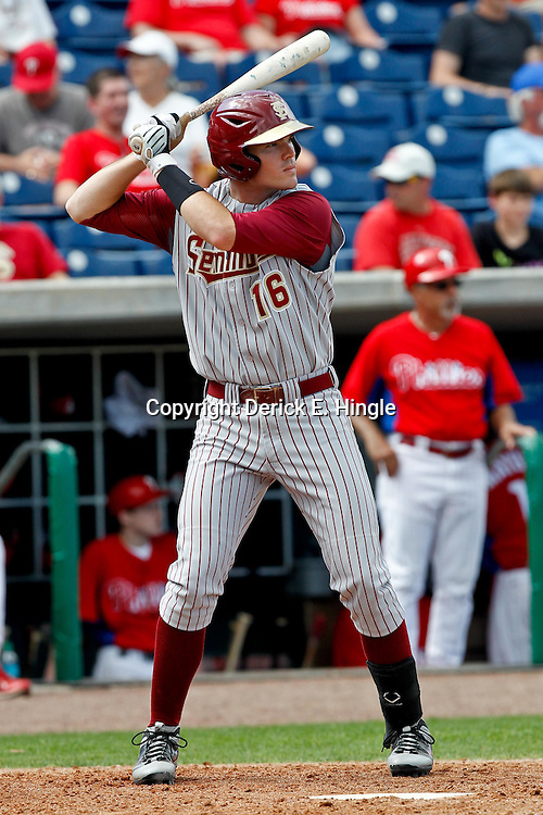February 29, 2012; Clearwater, FL, USA; Florida State University first baseman Jayce Boyd during a spring training exhibition game against the Philadelphia Phillies at Bright House Networks Field. The Phillies defeated Florida State 6-1. Mandatory Credit: Derick E. Hingle-US PRESSWIRE