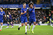 GOAL - Chelsea Midfielder Willian celebrates with Chelsea Defender Cesar Azpilicueta 1-0 during the The FA Cup fourth round match between Chelsea and Sheffield Wednesday at Stamford Bridge, London, England on 27 January 2019.