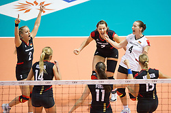 02.10.2011, Hala Pionir, Belgrad, SRB, Europameisterschaft Volleyball Frauen, Finale, Deutschland (GER) vs. Serbien (SRB), im Bild Jubel Deutschland: Kathleen Weoß / Weiss (#2 GER), Margareta Kozuch (#14 GER / Sopot POL), Christiane Fürst / Fuerst (#11 GER / Istanbul TUR), Angelina Grün / Gruen (#7 GER / Aachen GER), Kerstin Tzscherlich (#4 GER / Dresden GER), Maren Brinker (#15 GER / Pesaro ITA) // during the 2011 CEV European Championship, Final at Hala Pionir, Belgrade, SRB, Germany vs Serbia, 2011-10-02. EXPA Pictures © 2011, PhotoCredit: EXPA/ nph/  Kurth       ****** out of GER / CRO  / BEL ******