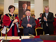 11 May 2012 President Michael D. Higgins who received the freedom of Galway city from Mayor of Galway hildegarde Naughton and City Manager Joe O Neill   in Hotel Meyrick. Photo:Andrew Downes