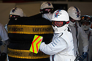 February 19-22, 2015: Formula 1 Pre-season testing Barcelona : Williams Martini Racing mechanics wait for pitstop practice.