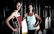 Olympic Rowers in the lightweight lwt womens double Lindsay Jennerich Patricia Obee pose at the Elk Lake boathouse.
