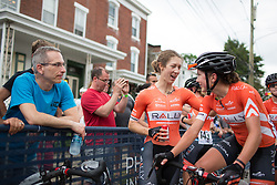 Heather Fischer (USA) of Rally Cycling Team chats to team mate Sara Poidevin (CAN) after the Philadelphia International Cycling Classic, a 117.8 km road race in Philadelphia on June 5, 2016 in Philadelphia, PA.