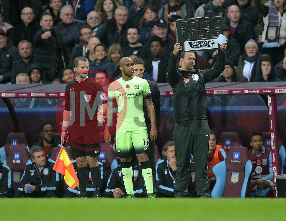 Fabian Delph of Manchester City waits to come into the pitch. - Mandatory byline: Alex James/JMP - 07966 386802 - 08/11/2015 - FOOTBALL - Villa Park - Birmingham, England - Aston Villa v Manchester City - Barclays Premier League