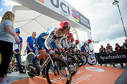 Cervélo Bigla charge off the start ramp at the 42,5 km team time trial of the UCI Women's World Tour's 2016 Crescent Vårgårda Team Time Trial on August 19, 2016 in Vårgårda, Sweden. (Photo by Sean Robinson/Velofocus)