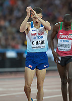 Athletics - 2017 IAAF London World Athletics Championships - Day Eight, Evening Session<br /> <br /> Mens 1500m Semi Final<br /> <br /> Chris O'Hare (Great Britain) finishing fourth qualifies for the final applauds the fans for their support at the London Stadium<br /> <br /> COLORSPORT/DANIEL BEARHAM
