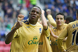 Wigan, England - Sunday, January 21, 2007:  Everton's Victor Anichebe celebrates the opening goal against Wigan Athletic during the Premier League match at the JJB Stadium. (Pic by David Rawcliffe/Propaganda)