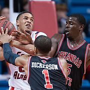 MOBILE, AL - DECEMBER 29:  Dre Conner #2 of the South Alabama Jaguars gets fouled by Brandon Peterson #15 of the Arkansas State Red Wolves at USA Mitchell Center on December 29, 2012 in Mobile, Alabama. At halftime Arkansas State leads South Alabama 28-23. (Photo by Michael Chang/Getty Images) *** Local Caption *** Dre Conner;Brandon Peterson
