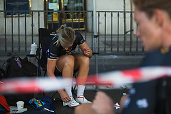 Annette Edmondson (AUS) of Wiggle High5 Cycling Team prepares for Stage 2 of the Madrid Challenge - a 100.3 km road race, starting and finishing in Madrid on September 16, 2018, in Spain. (Photo by Balint Hamvas/Velofocus.com)