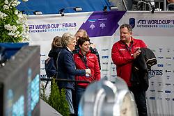 WINTER-SCHULZE Madeleine (Pferdebesitzer), KOENLE Marc (Mannschaftstierarzt), THEODORESCU Monica (Bundestrainer Dressur GER),<br /> Göteborg - Gothenburg Horse Show 2019 <br /> FEI Dressage World Cup™ Final I<br /> Int. dressage competition - Grand Prix de Dressage<br /> Longines FEI Jumping World Cup™ Final and FEI Dressage World Cup™ Final<br /> 05. April 2019<br /> © www.sportfotos-lafrentz.de/Stefan Lafrentz