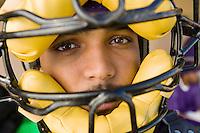 Baseball Catcher Wearing Mask During Game