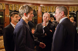 Sergey Bubka talks to the young pole vault athlete Robert Renner (L)  and Gregor Bencina, president of AZS during his visit in Slovenia and meeting with young athletes on November 8, 2013 in Grand Hotel Toplice, Bled, Slovenia. Photo by Vid Ponikvar / Sportida