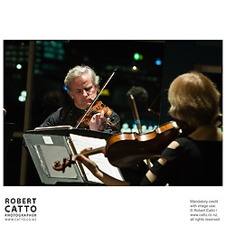 The New Zealand String Quartet performs 'Music To Delight', works by Bach, Mendelssohn, Chopin, Farr and Mozart, with Philip Green (clarinet) at the Boatshed on Wellington's Waterfront, New Zealand.