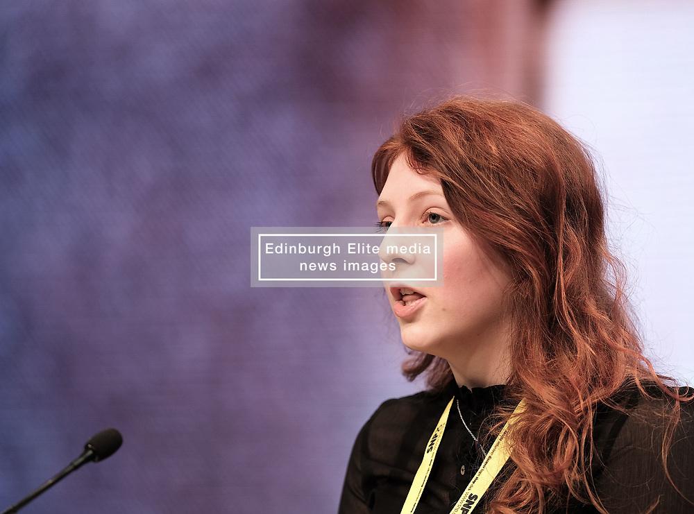 SNP Spring Conference, Saturday 27th April 2019<br /> <br /> Pictured: Young Scots for Independence speaker Erin Jarvis<br /> <br /> Alex Todd | Edinburgh Elite media