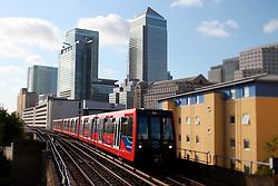 UK ENGLAND LONDON 22JUL15 - Docklands Light Railway (DLR) train in the docklands, east  London.<br /> <br /> <br /> <br /> jre/Photo by Jiri Rezac / Greenpeace<br /> <br /> <br /> <br /> © Jiri Rezac 2015