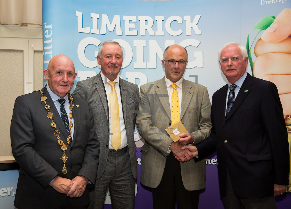 11.10.2016        <br /> The West of Limerick is awake and celebrating after Glin was announced as overall winner of Limerick Going for Gold 2016.<br /> Mayor of Limerick Cllr. Kieran O'Hanlon and Gerry Boland, JP McManus Foundation present Estates/Residential Areas in Limerick 3rd place Award to Sean Connor and Kevin Haugh, Monaleen Park Residence Association. Picture: Alan Place