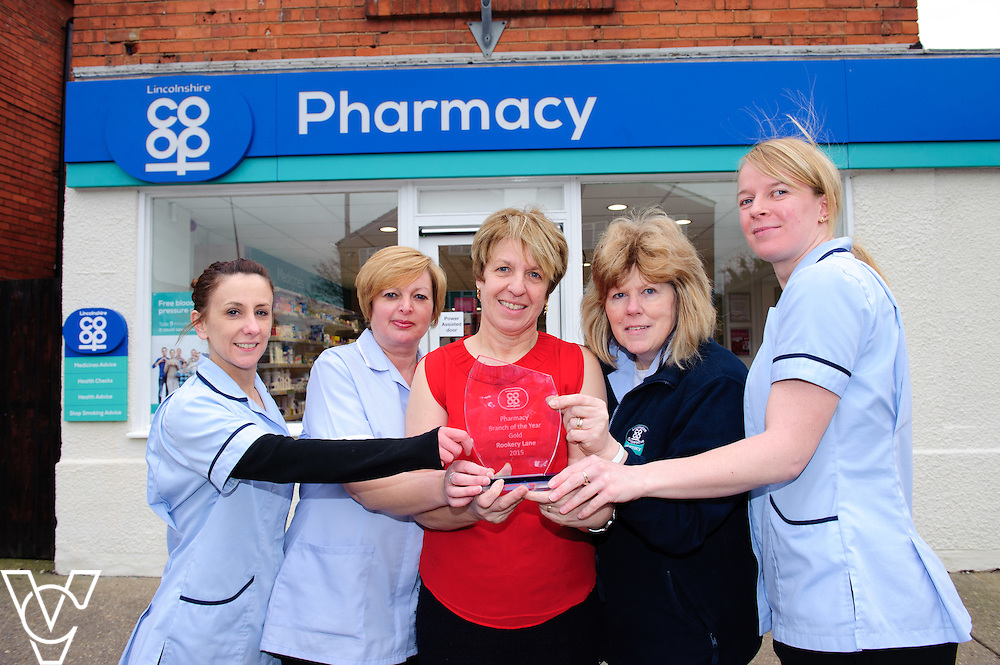 Pictured is, from left, Karen Sutton, Tracy Pearce, Avril McDermott, Dee Buckberry and Louise Hubbard from the Lincolnshire Co-operative's Rookery Lane Pharmacy.  The staff at the pharmacy were awarded gold at the Lincolnshire Co-op's staff awards.<br /> <br /> Picture: Chris Vaughan/Chris Vaughan Photography<br /> Date: February 5, 2016