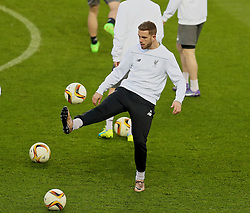 MANCHESTER, ENGLAND - Wednesday, March 16, 2016: Liverpool's captain Jordan Henderson during a training session at Old Trafford ahead of the UEFA Europa League Round of 16 2nd Leg match against Manchester United. (Pic by David Rawcliffe/Propaganda)