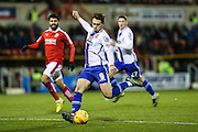 Walsall's Tom Bradshaw takes a shot at goal during the Sky Bet League 1 match between Swindon Town and Walsall at the County Ground, Swindon, England on 24 November 2015. Photo by Shane Healey.