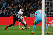 Dimitri Payet of Olympique de Marseille and Marcelo of Olympique Lyonnais during the French Championship Ligue 1 football match between Olympique de Marseille and Olympique Lyonnais on march 18, 2018 at Orange Velodrome stadium in Marseille, France - Photo Philippe Laurenson / ProSportsImages / DPPI
