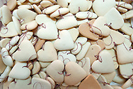 Undecorated gingerbread hearts in the workshop of Brankica Šćuric. The traditional gingerbread craft of northern Croatia is inscribed on the UNESCO list of Intangible Cultural Heritage. Marija Bistrica, Croatia © Rudolf Abraham