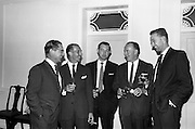 30/6/1964<br /> 6/30/1964<br /> 30 June 1964<br /> <br /> Mr. BH. Skinner Marketing Manager, Mr D Shuttleworth District Manager, Mr B.H. Greenwood District Manager, Mr J.l. Leech Managing Director and Mr T. Marriott Asst. District Manager enjoying a Pepsi at the Reception
