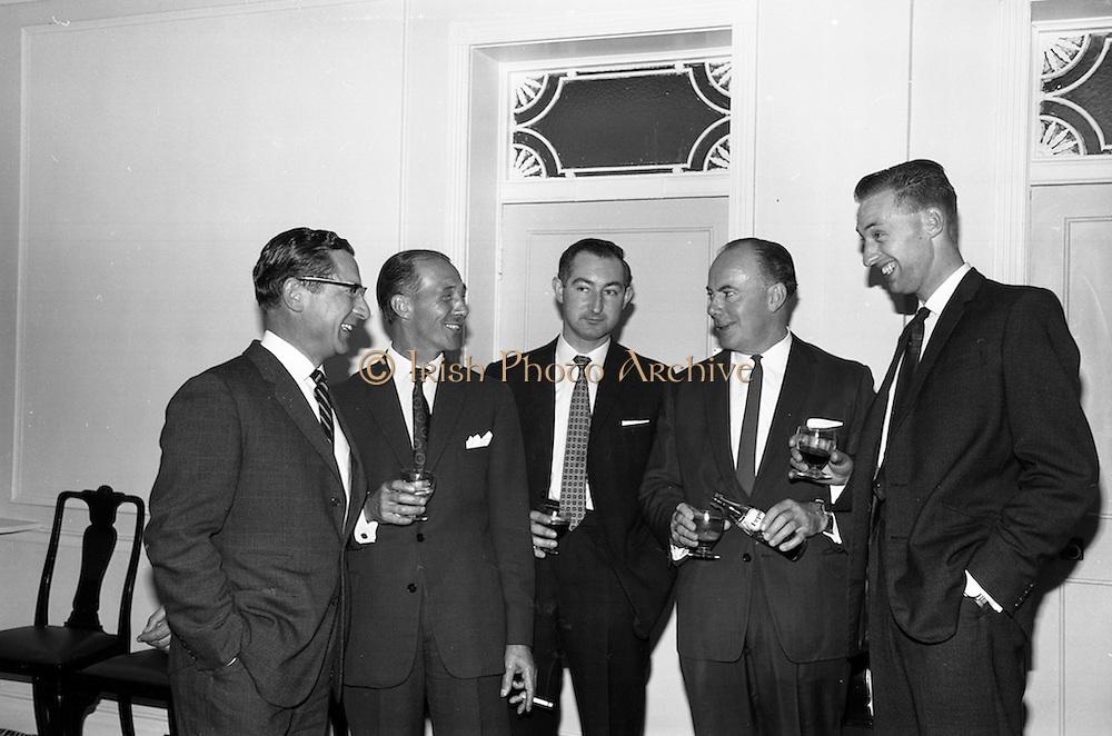 30/6/1964<br /> 6/30/1964<br /> 30 June 1964<br /> <br /> Mr. BH. Skinner Marketing Manager, Mr D Shuttleworth District Manager, Mr B.H. Greenwood District Manager, Mr J.l. Leech Managing Director and Mr T. Marriott Asst. District Manager enjoying a Pepsi at the Reception