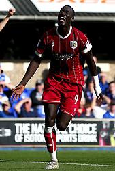 Famara Diedhiou of Bristol City celebrates scoring a goal to make it 2-0 - Mandatory by-line: Robbie Stephenson/JMP - 30/09/2017 - FOOTBALL - Portman Road - Ipswich, England - Ipswich Town v Bristol City - Sky Bet Championship