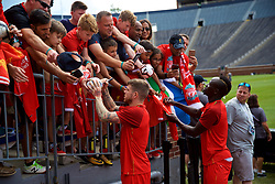 ANN ARBOR, USA - Friday, July 27, 2018: Liverpool's Alberto Moreno and Sadio Mane sign autographs for supporters after a training session ahead of the preseason International Champions Cup match between Manchester United FC and Liverpool FC at the Michigan Stadium. (Pic by David Rawcliffe/Propaganda)