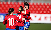 Football<br /> UEFA WU19 , Second Qualifying Round<br /> UKI Arena Jessheim 04.04.13<br /> England - Serbia<br /> Ana Popov celebrates her goal with Jelena Cubrilo and Jelana Cankovio  <br /> Foto: Eirik Førde