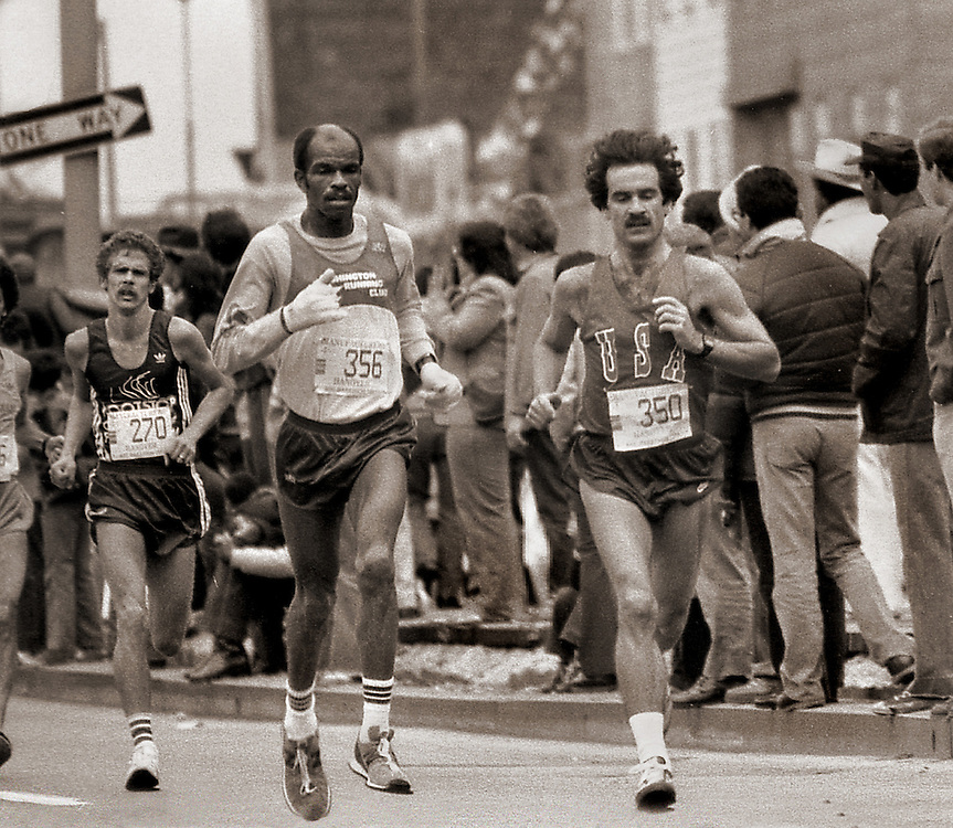 Runners, New York City Marathon. Six and a half mile mark. 1984
