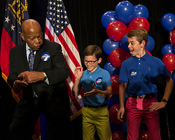 June 20 2017 - Atlanta, Georgia, U.S. -  Representative JOHN LEWIS (D - GA) dances with young men at an election night rally for Georgia Sixth District's Democratic candidate, Jon Ossoffl.  Ossoff lost his election bid against Republican Karen Handel forthe open House seat in what was the most expensive Congressional race in history.  A reported 50 million dollars was spent in aggregate by the two campaigns.(Credit Image: © Brian Cahn via ZUMA Wire)