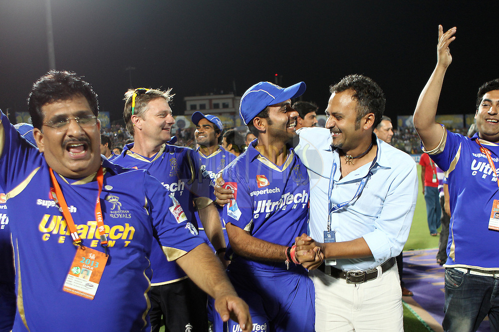 The Rajasthan Royals acknowledge the crowd after winning every home match of the season during match 61 of the Pepsi Indian Premier League ( IPL) 2013  between The Rajasthan Royals and the Chennai SUperkings held at the Sawai Mansingh Stadium in Jaipur on the 12th May 2013..Photo by Ron Gaunt-IPL-SPORTZPICS ..Use of this image is subject to the terms and conditions as outlined by the BCCI. These terms can be found by following this link:..http://www.sportzpics.co.za/image/I0000SoRagM2cIEc