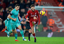 LIVERPOOL, ENGLAND - Saturday, December 29, 2018: Liverpool's Adam Lallana during the FA Premier League match between Liverpool FC and Arsenal FC at Anfield. (Pic by David Rawcliffe/Propaganda)