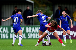 Charlie Wellings of Bristol City challenges Maren Mjelde of Chelsea Women - Mandatory by-line: Ryan Hiscott/JMP - 29/09/2019 - FOOTBALL - SGS College Stoke Gifford Stadium - Bristol, England - Bristol City Women v Chelsea Women - FA Women's Super League
