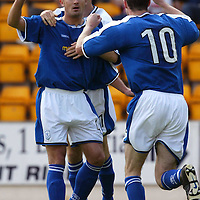 St Johnstone v Hamilton Accies..31.07.04  Bell's Cup<br />David Hannah is congratulated after scoring from the spot<br /><br />Picture by Graeme Hart.<br />Copyright Perthshire Picture Agency<br />Tel: 01738 623350  Mobile: 07990 594431