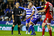 Reading forward George Puscas (47) appeals for handball but referee Mr Wolmer rejects his appeal during the EFL Sky Bet Championship match between Reading and Fulham at the Madejski Stadium, Reading, England on 1 October 2019.