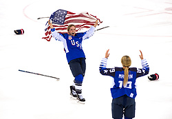 February 22, 2018 - Pyeongchang, South Korea - US Olympic Women's hockey team members JOCELYNE LAMOUREUX-DAVIDSON, left, and GIGI MARVIN celebrate their 3-2 overtime win over Canada in the Women's Gold Medal Ice Hockey game Thursday, February 22, 2018 at Gangneung Hockey Centre at the Pyeongchang Winter Olympic Games. Photo by Mark Reis, ZUMA Press/The Gazette (Credit Image: © Mark Reis via ZUMA Wire)