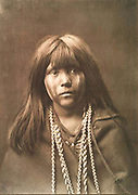 Native American Indian girl.   Photograph by Edward Curtis (1868-1952).
