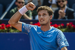 April 27, 2018 - Barcelona, Catalonia, Spain - PABLO CARRENO BUSTA (ESP) celebrates his victory against Grigor Dimitrov (BUL) in their quarter final of the 'Barcelona Open Banc Sabadell' 2018. Carreno Busta won 6:3, 7:6 (Credit Image: © Matthias Oesterle via ZUMA Wire)