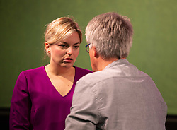 October 7, 2018 - Munich, Bavaria, Germany - The lead of the Greens for the Bavarian State Elections Katharina Schulze talking to a delegate.  The Bavarian Buendnis 90 / Die Gruenen ( The Greens ) held its small party congress one week before the Bavarian State Elections ( Landtagswahl ). At the moment among polls they are the second party in Bavaria. On 7th October 2018 in Munich, Germany. (Credit Image: © Alexander Pohl/NurPhoto/ZUMA Press)