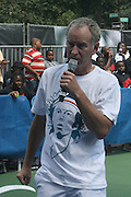 John McEnroe at the Nike Youth Tennis  Challenge held at The Nike -Built regulation Tennis Court  on West 23rd Street & Broadway in New York  City . ..Hundreds of tennis fans and youth form New York  Parks and Rec. Athlethes for Charity, and Mentoring USA are treating to tips and guidance from Tennis Pros Roger Federer, Rafael Nadal and Serena Williams...