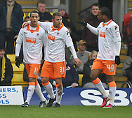 Picture by David Horn/Focus Images Ltd +44 7545 970036.09/03/2013.Tom Ince (left) of Blackpool celebrates scoring his side's first goal with Angel and Nathan Delfouneso during the npower Championship match at Vicarage Road, Watford.